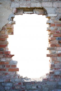 Hole in the brick wall with copy space