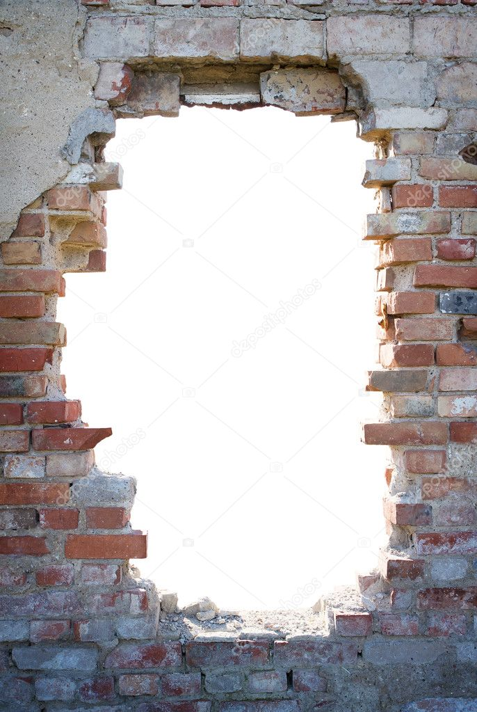 Hole in the brick wall with copy space — Stock Photo ...