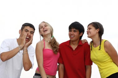 Diverse group of summer camp kids.