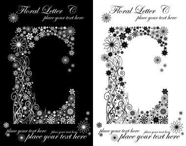 Two black and white letters of vintage floral alphabet, C