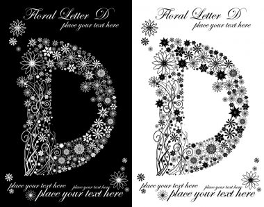 Two black and white letters of vintage floral alphabet, D