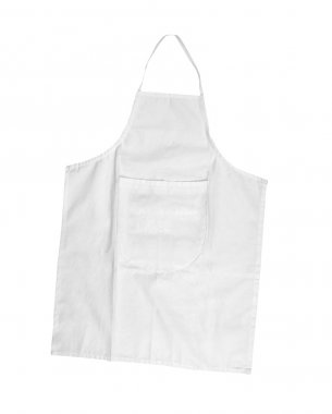 White female apron with outsets isolated on white