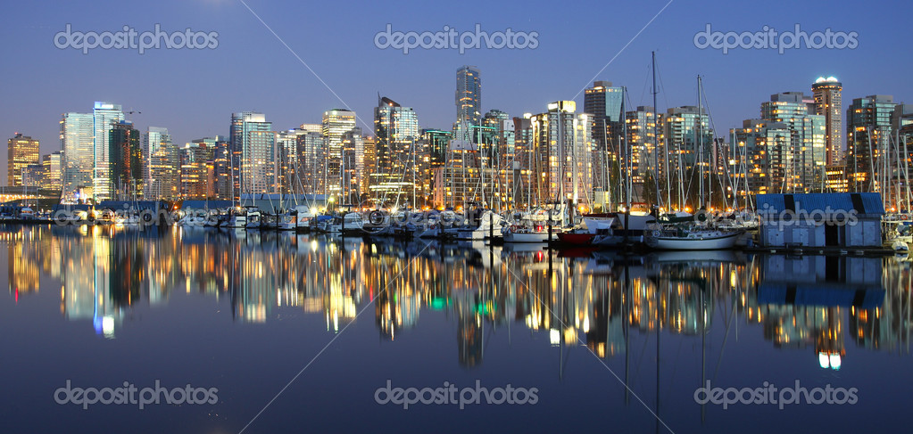 Vancouver downtown, night
