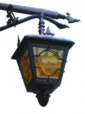 Vintage street lamp in the snow
