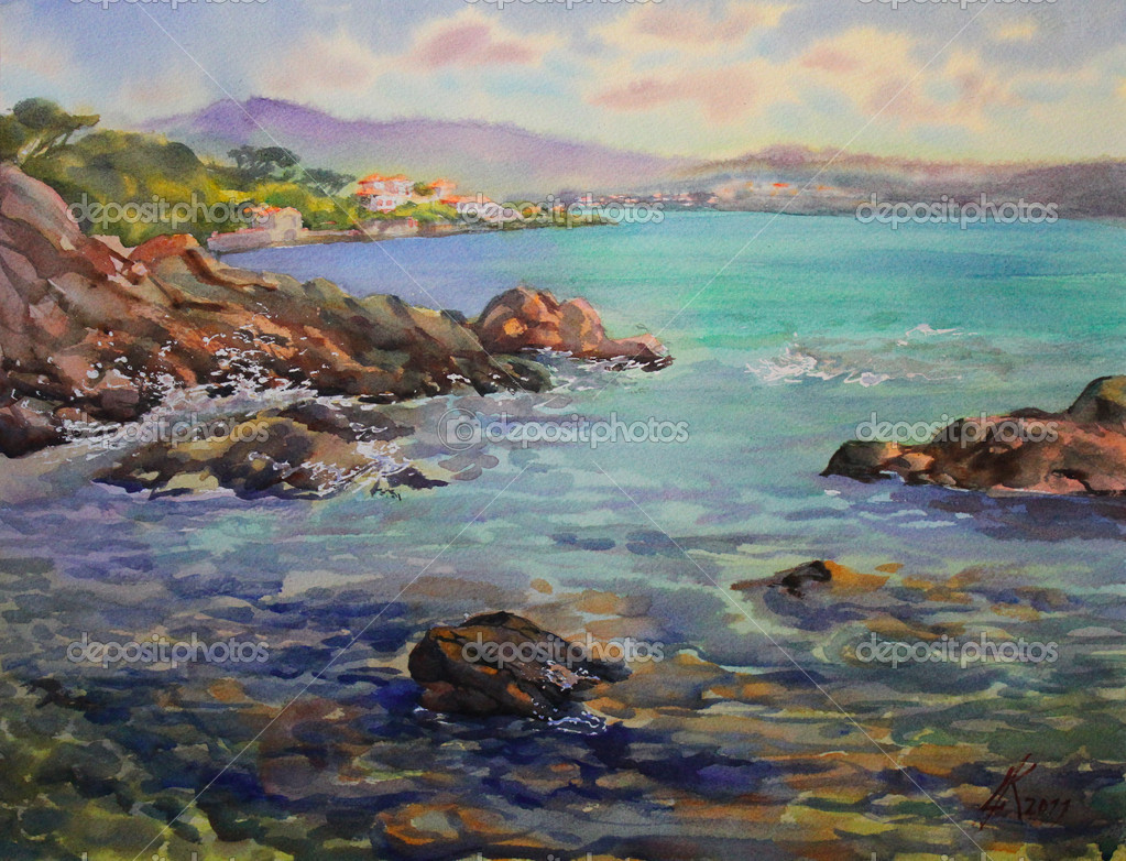 Watercolor painting of the Cote d'Azur, France
