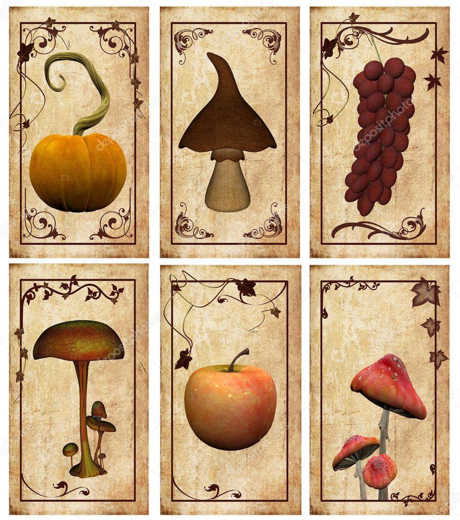 Autumnal vintage labels