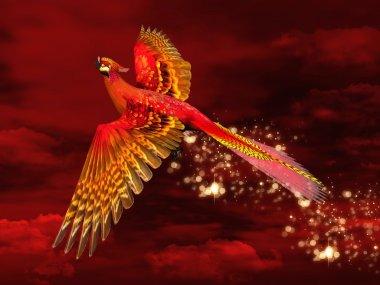 Phoenix through a red sky