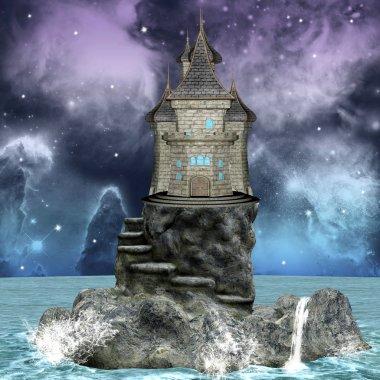 Wonderful palace over an island by night