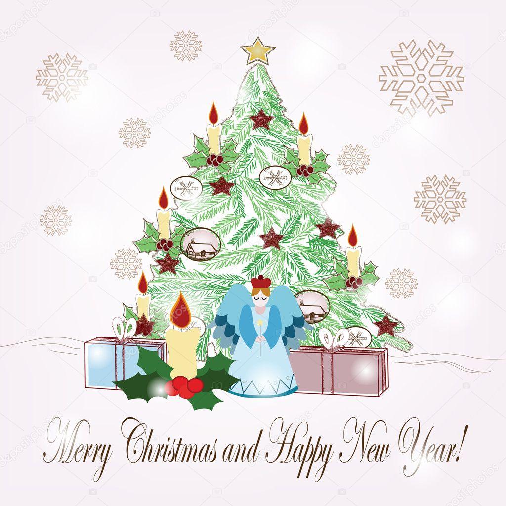 weihnachten-szene — Stockvektor © Ellerslie #7909307