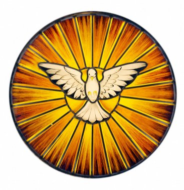 Stained glass depicting the symbol of the Holy Spirit stock vector