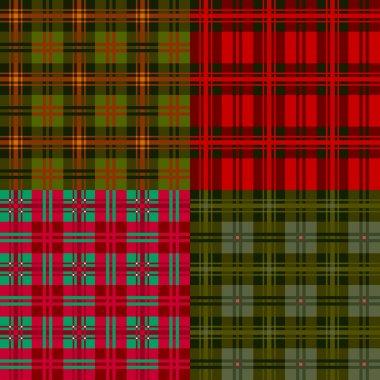 Set plaid patterns, tartan, fabric textile