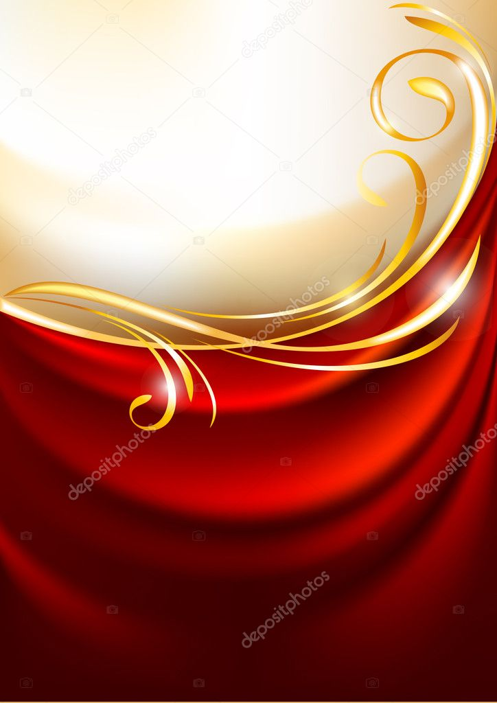 Red fabric curtain on gold background