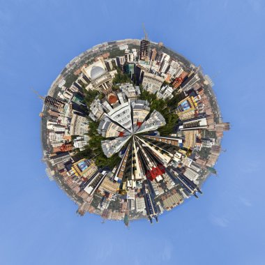 Urban cityscape of Novosibirsk, Russia Little PLanet Panorama