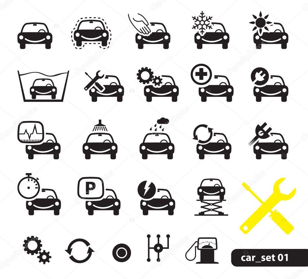 Car service icons, set