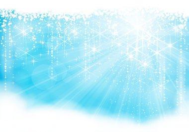 Festive sparkling light blue Christmas / winter background (eps10)