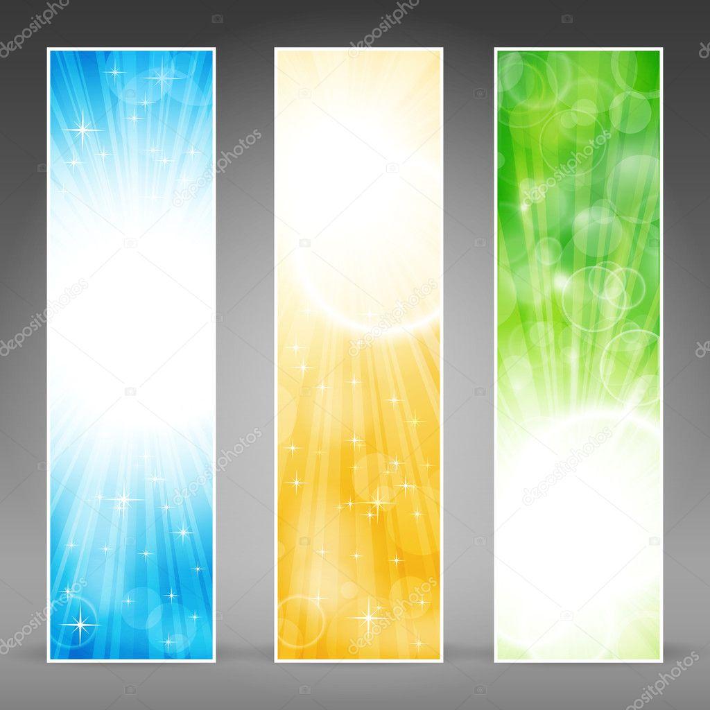 Vertical banner set with light bursts