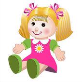 vektorové ilustrace dívka panenku