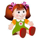 dívka panenku vektorové ilustrace
