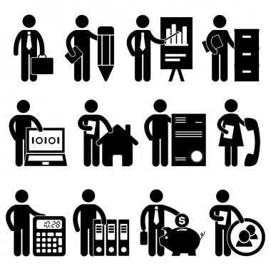 A set of office job for business worker and employee in pictogram. clip art vector