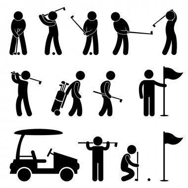 Golf Golfer Swing Caddy Caddie Pictogram