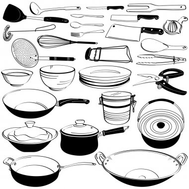 Kitchen Tool Utensil Equipment Doodle Drawing Sketch