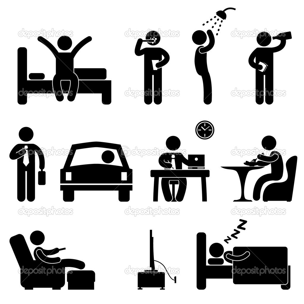Man Daily Routine Icon Sign Symbol Pictogram