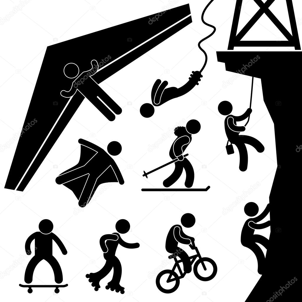 Extreme Sport Hang Glider Bungee Jump Rock Climb Skating