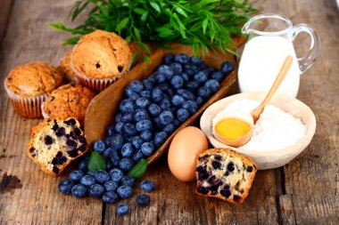 Blueberry muffin with ingredients