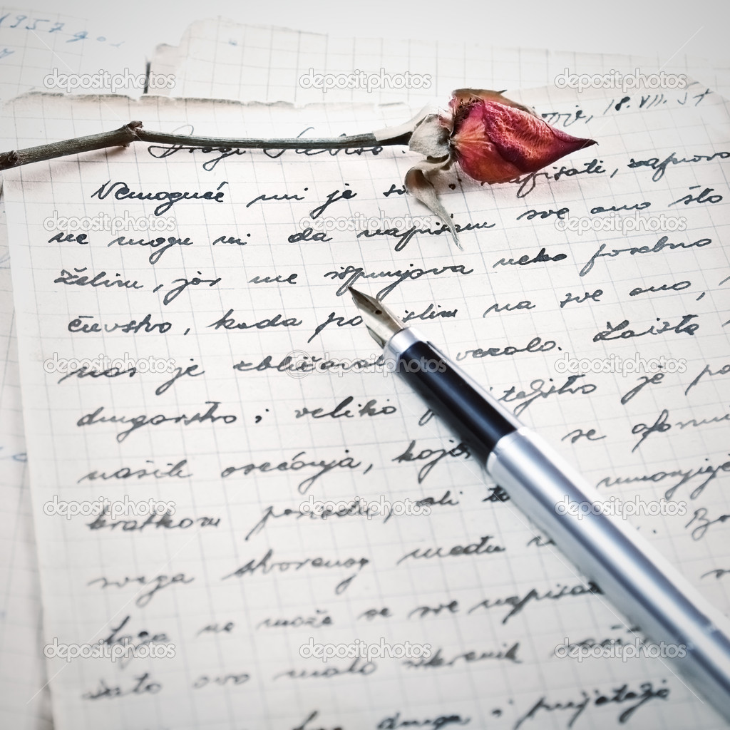 love letter with a rose stock photo 7066937