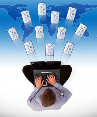 Man sending a lot of e-mails