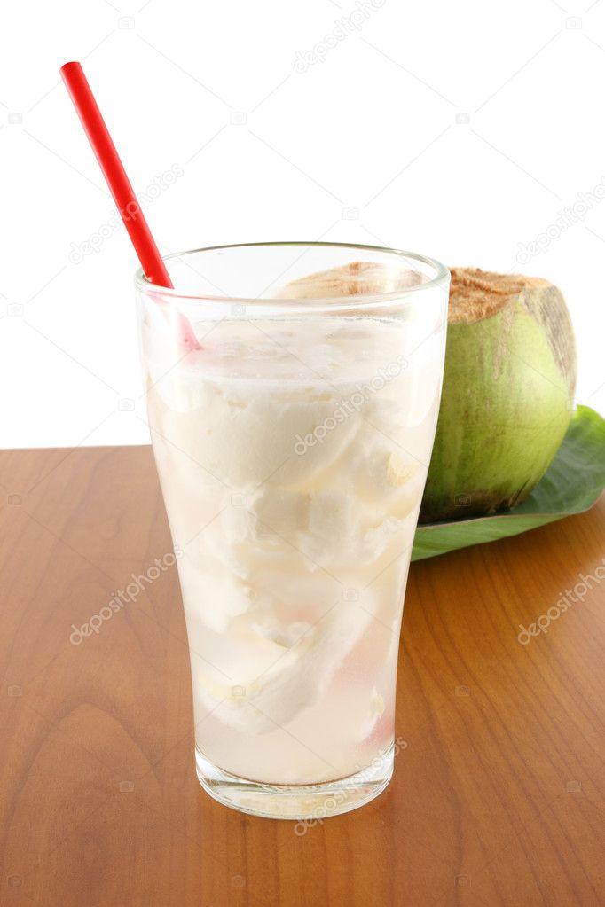 Coconut juice on table