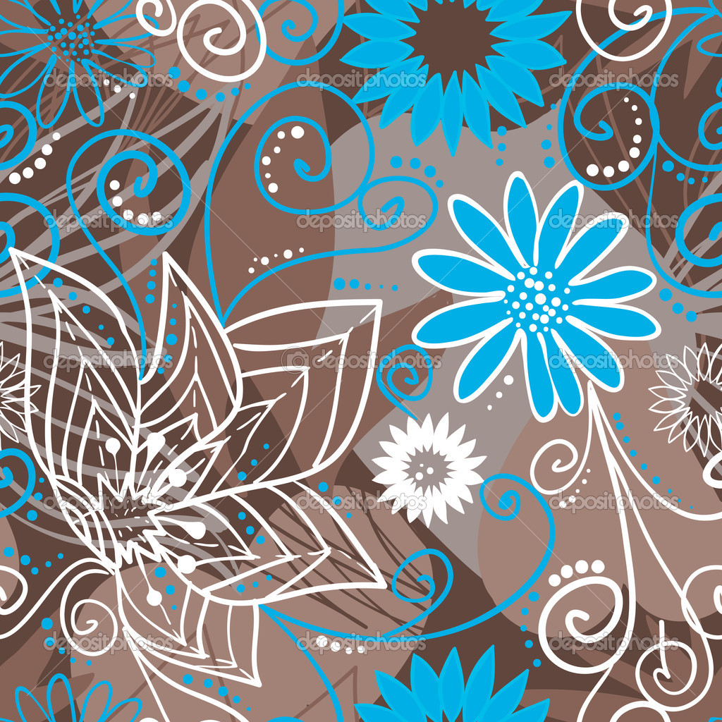 Coffee-and-blue floral pattern