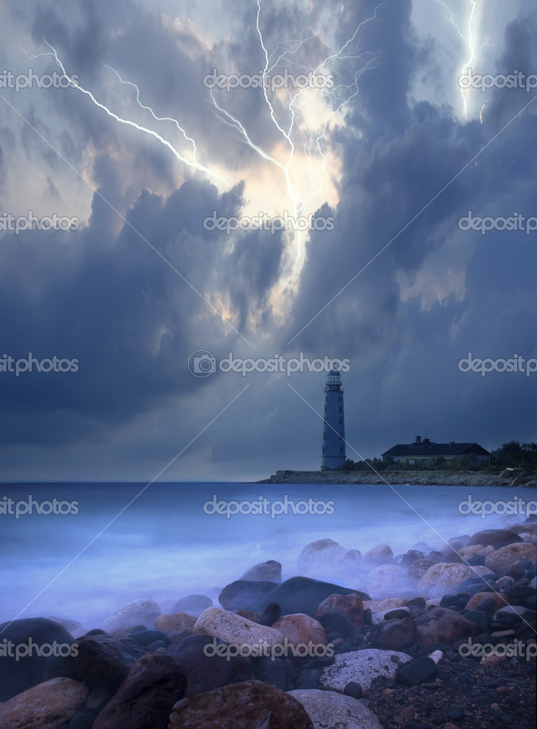Coastal beacon, storm in the sea