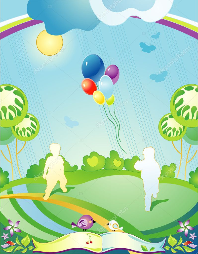 Landscape with silhouettes of children and departing balloons