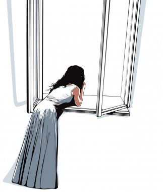Girl watching through window, vector illustration.