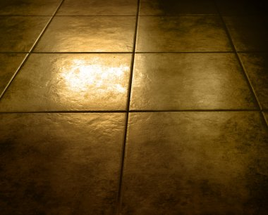 Closeup of grungy brown floor tiles