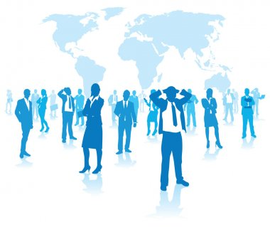 Business group on a world background