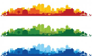Set of cityscapes stock vector