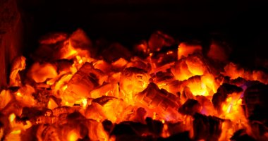 Live coals in fireplace