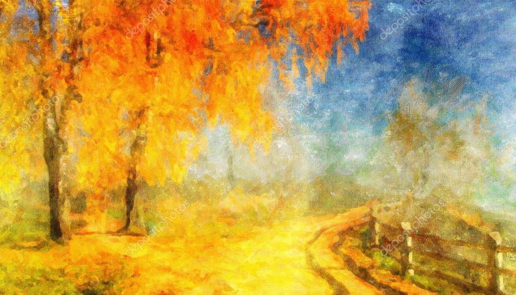 Фотообои Картина масляными красками на холсте, пейзаж: осенний лес
