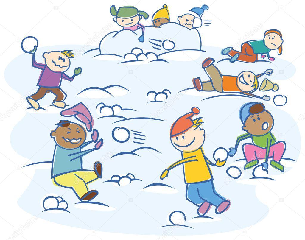 Как дети играют в снежки 87