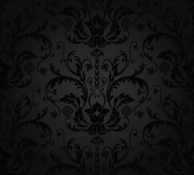Charcoal seamless floral wallpaper