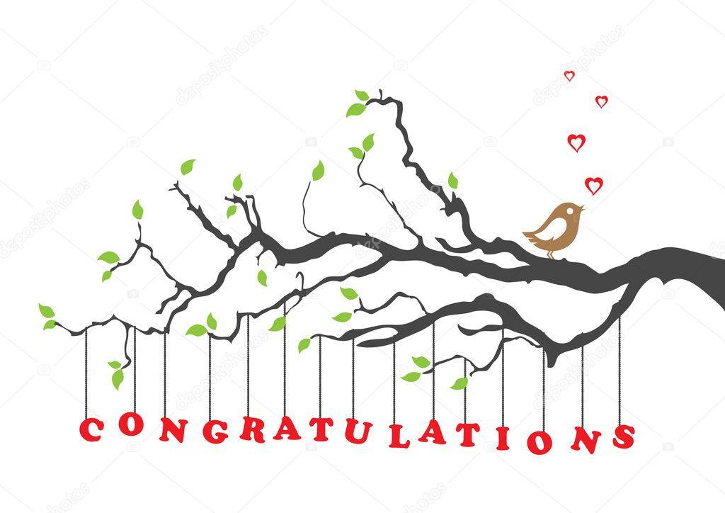 Congratulations greeting card with bird