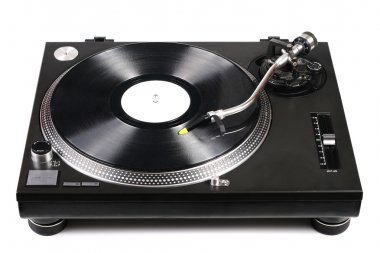 Dj turntable with tonearm on vinyl record isolated on white