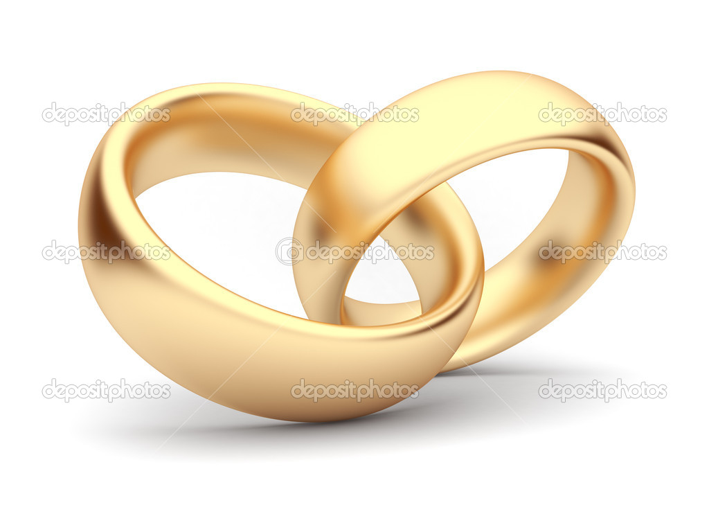 Wedding Gold Rings 3d Isolated Symbol Of Love Stock Photo