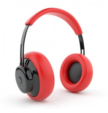 Red headphones 3D. Icon. Isolated on white background