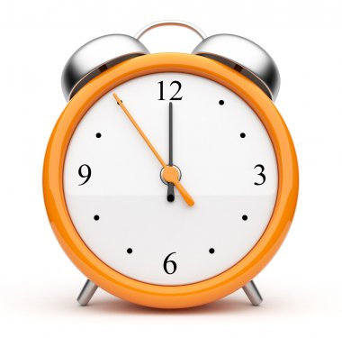 Orange alarm clock 3d. Icon. Isolated on white background