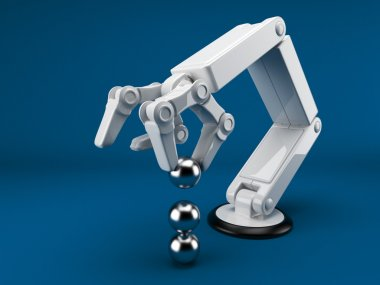 Robotic hand holding sphere 3d. Artificial intelligence. On blue