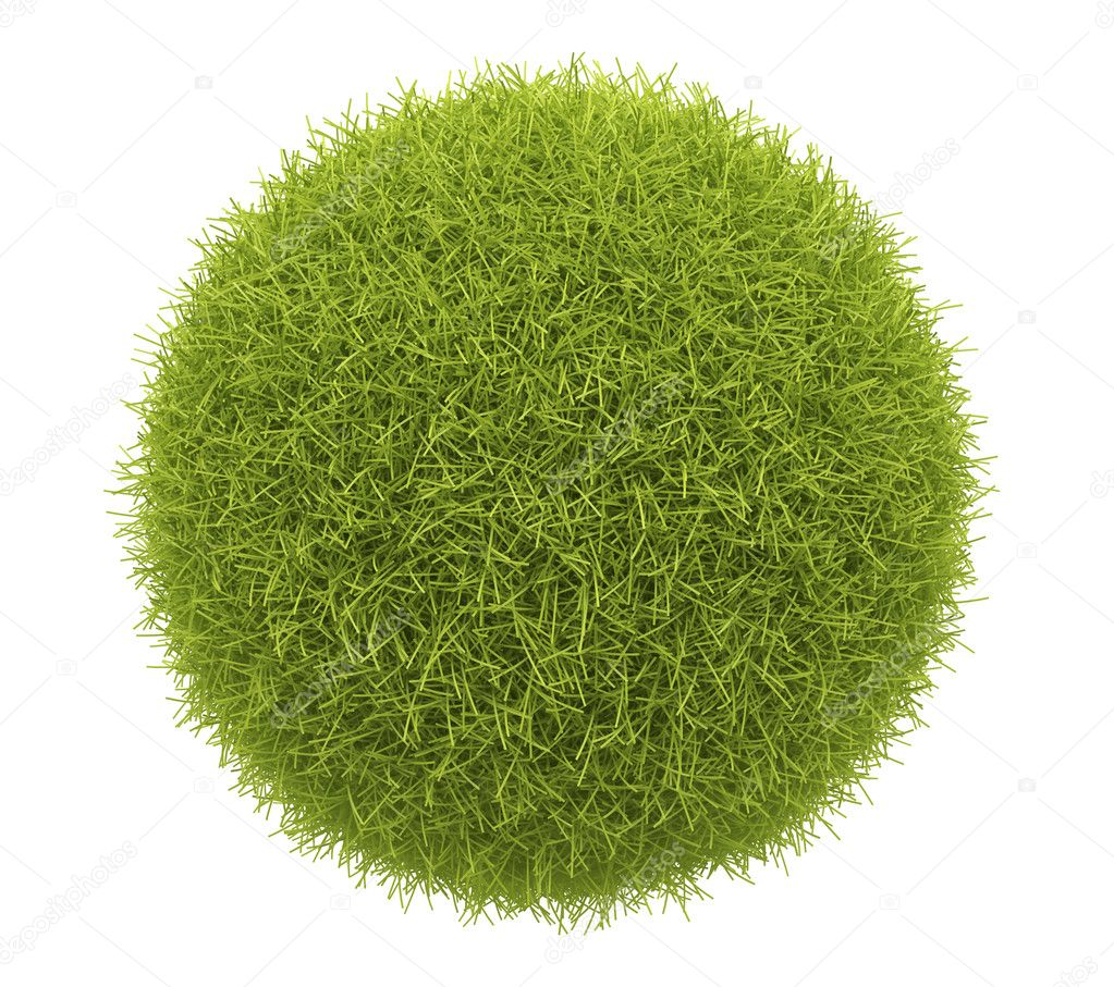 Abstract green sphere of grass 3D. Environment concept. Isolate