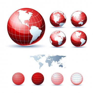 3D Icons: Glossy Earth Globes